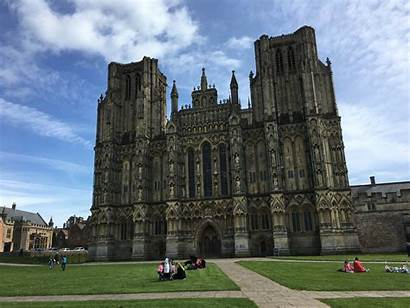 Wells Cathedral Architectural Visit England Sky