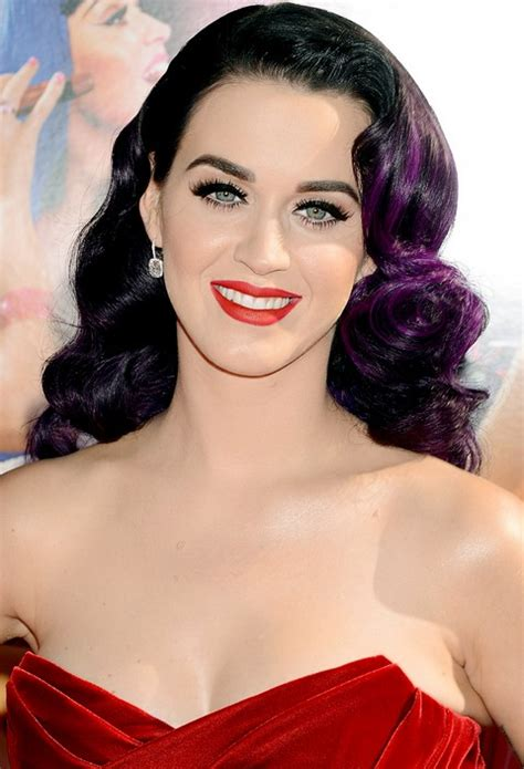katy perry hairstyle purple accents  hollywood glamour