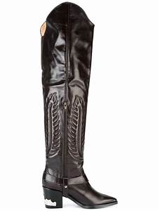 toga leather embossed thigh high boots in brown lyst