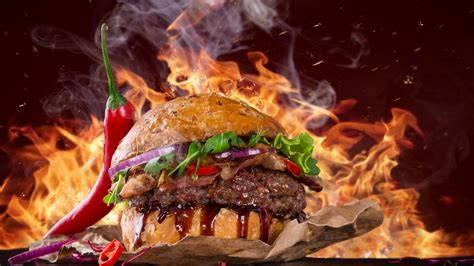 wallpaper burger steak fire fast food pepper  food