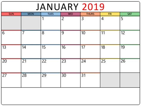 January 2019 Calendar Printable Templates