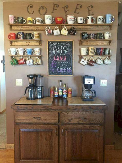 Coffee lovers are so spoiled for choice, it is no wonder you might want to decorate your kitchen with representations of this marvelous drink. 35 diy mini coffee bar ideas for your home (2) | Coffee bar home, Home kitchens, Kitchen decor