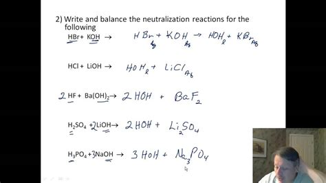 acids 04 worksheet neutralization reactions