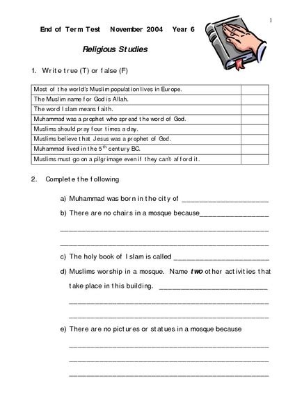 Religious Studies Test Worksheet For 4th 7th Grade