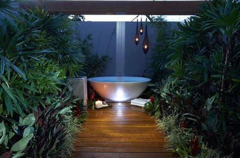 outdoor bathtubs creating spiritual connection  nature