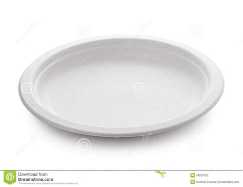 White Paper Plate On White Background Stock Photo