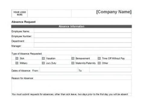 pto request form  word templates