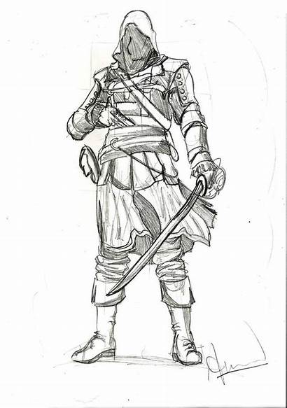 Creed Assassin Kenway Drawing Sketches Anime Drawings