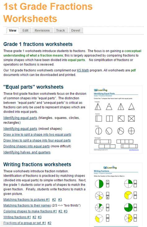 grade fractions worksheets  learning