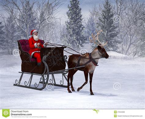ren das einen pferdeschlitten mit weihnachtsmann zieht