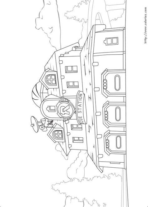 Kleurplaat Rescue Bots Station by Coloriage Caserne Des Pompiers De Vroom Ville
