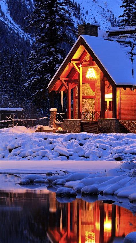 wallpaper winter cozy mountain lodge emerald lake yoho