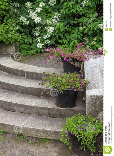 Blumentöpfe, Die Steinschritte In Einem Garten Verzieren