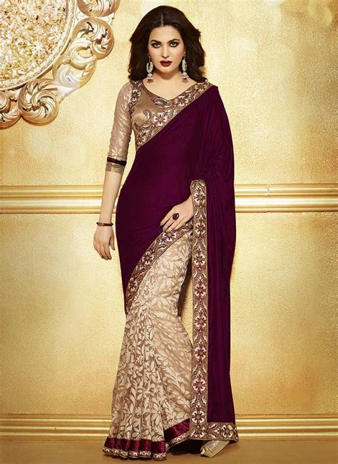 And Gold Sari maroon and gold embroidered saree