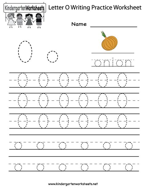 kindergarten letter o writing practice worksheet printable