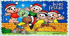 Cartões de Natal da Turma da Mônica para imprimir e colorir