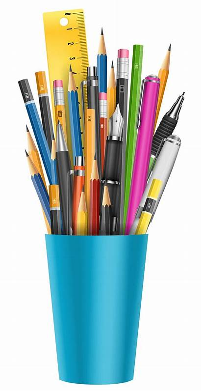 Clipart Stationery Notebook Cup Transparent Pencil Pens