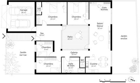 plan maison 2 chambres plain pied maison contemporaine plain pied plan 140m2 maison moderne