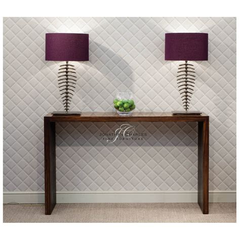 leather console table contemporary walnut leather console table swanky interiors