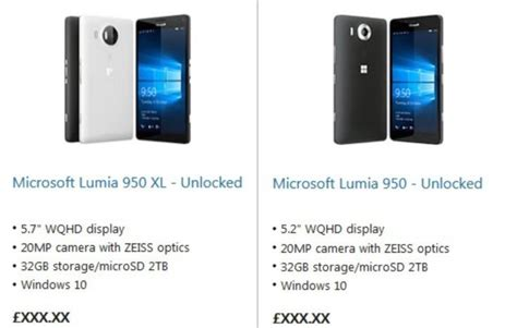 lumia 950 950 xl spotted on microsoft store uk phonesreviews uk mobiles apps networks
