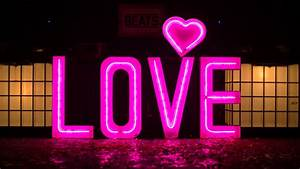 Light up love letters the word is love for Pink light up letters