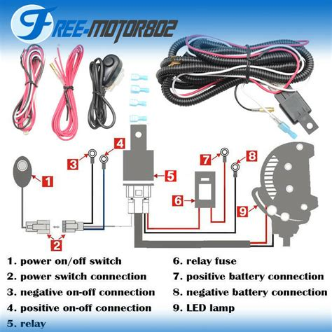 3 Wire Remote Wiring Diagram Led Light by Universal Led Light Bar Fog Light Wiring Harness Kit 40a