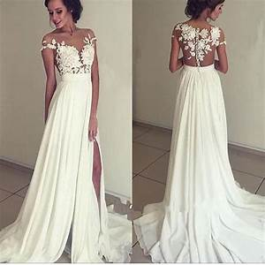 2017 long appliques floor length charming evening party With white wedding party dress