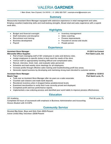 assistant store manager resume exle retail sle