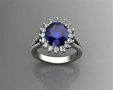 print model diamond  blue sapphire ring cgtrader