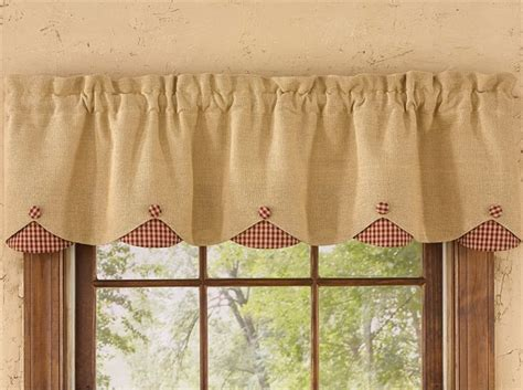 red burlap check lined scalloped curtain valance