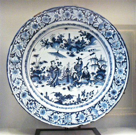 blue and white china l file faience with chinese scenes nevers manufactory 1680