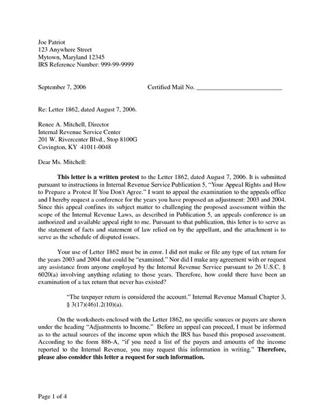 irs appeal letter sample irs protest