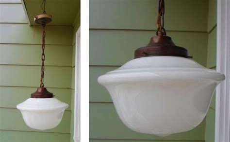 antique schoolhouse milk glass light fixture shade