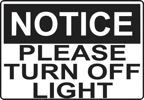 shut the lights off 5in x 3 5in please turn off light sticker vinyl door wall