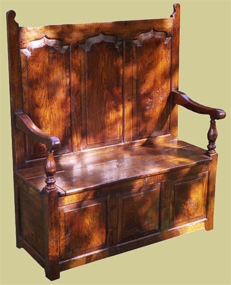 18th century style settle joined oak reproduction settle
