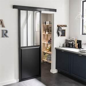 ensemble porte coulissante atelier aluminium verre clair With porte de douche coulissante avec meuble salle de bain bois noir