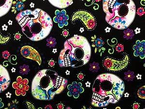 Colorful Skulls on Black Print | Pine Crest Fabrics