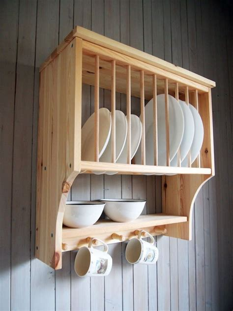 kitchen plate rack shelf solid pine wood wall mounted wooden wooden plate rack plate