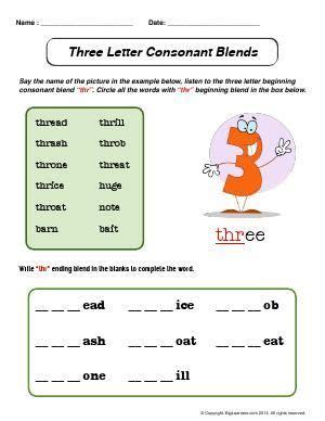Letter Blend by Worksheet Three Letter Consonant Blends Beginning