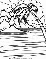 Sunset Coloring Sunrise Sunsets Ocean Printable Getcolorings Popular Colori sketch template
