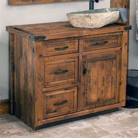 rustic weathered wood barnwood vanity