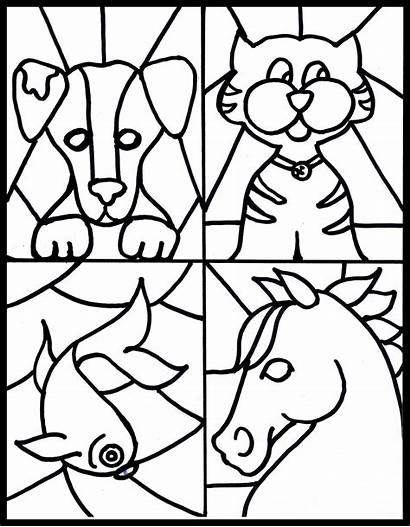 Stained Glass Craft Pet Coloring Pages Printable