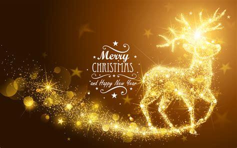 shining gold deer  christmas vectors vector