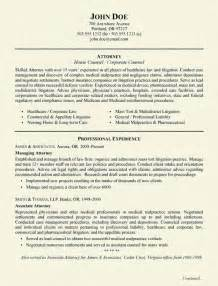 resumes for experienced attorneys healthcare attorney resume exle
