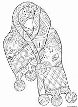 Coloring Patterned Scarf Adults Winter Christmas Printable sketch template