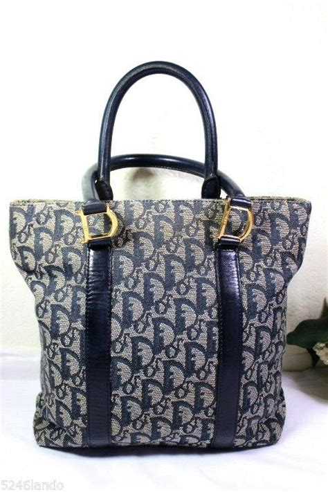 vintage christian dior navy blue dior monograms small tote