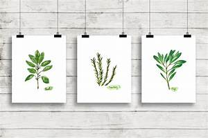 Watercolor herbs print set no1 botanical prints giclee for Kitchen colors with white cabinets with botanical prints wall art