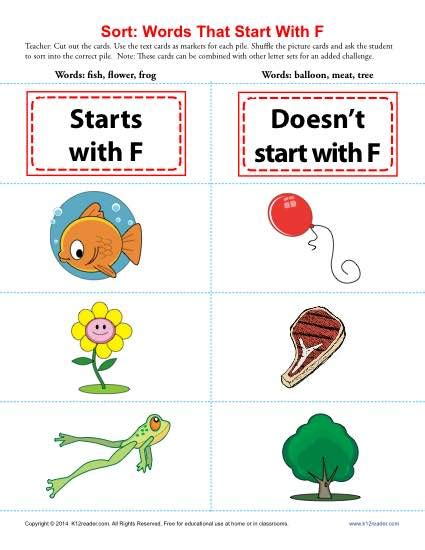 4 letter words starting with f words starting with f beginning consonant worksheets 27409
