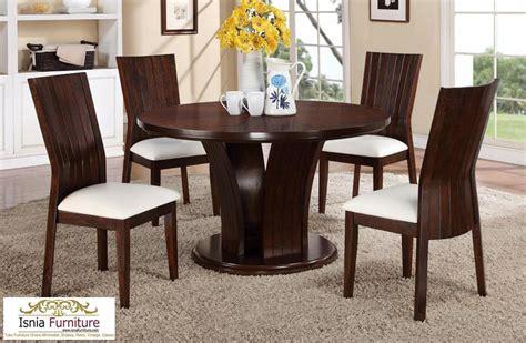 meja makan jati bulat  bundar kaca minimalis meja