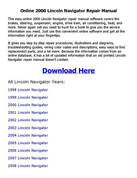 how to download repair manuals 2000 lincoln navigator electronic throttle control 2000 lincoln navigator repair manual online by robert issuu